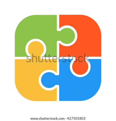 Various puzzle blank template isolated vector illustration. Graphic design puzzles and puzzles symbols. Line puzzle symbol of flat team building concept element - stock vector