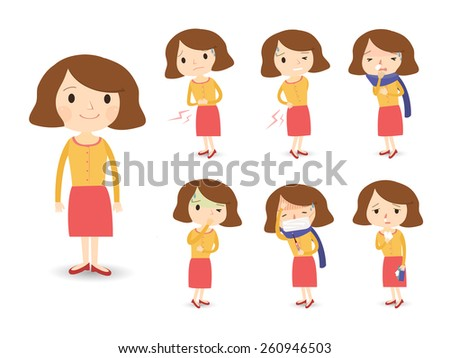 various sickness symptoms in cartoon style isolated over white background - stock vector