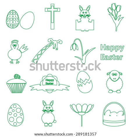 various simple outline Easter icons set eps10 - stock vector