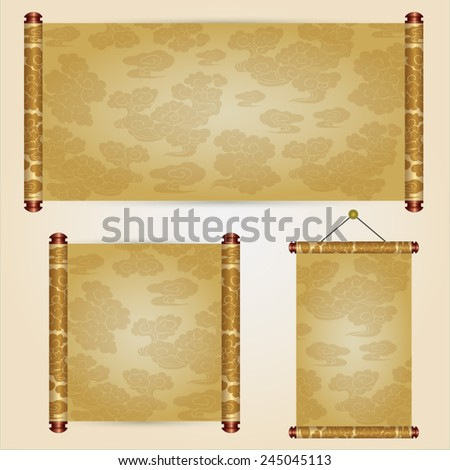 Various size of traditional chinese scroll - stock vector