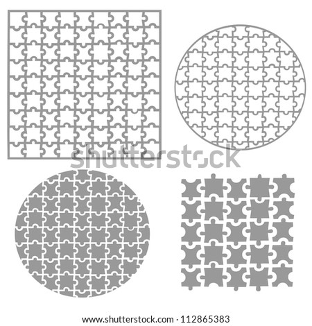 Various sizes puzzle, vector - stock vector
