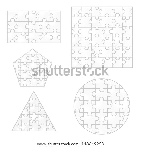 Various sizes puzzle, vector illustration on white background. Logo Symbol - stock vector