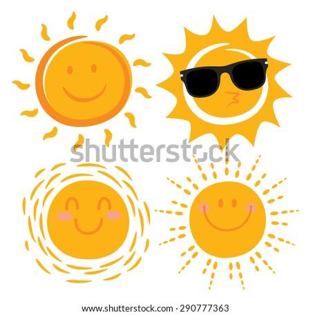 various smiling sun cartoon  - stock vector