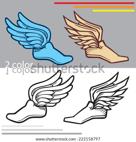 various sneakers with wings that is used for track or running - stock vector