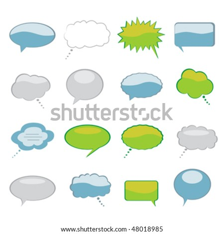 Various speech and thought bubbles set - stock vector