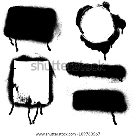 Various Spray paint graffiti decorative splatters - stock vector