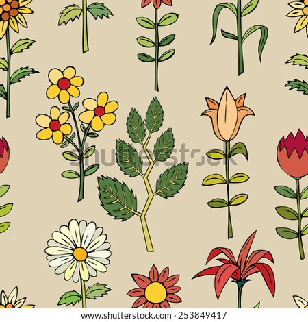Various summer flowers. - stock vector