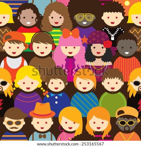 Various Teenage People Pattern - stock vector