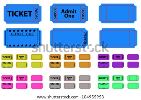 Various tickets set in different colours - stock vector