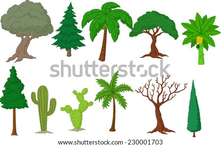 Various tree collection - stock vector