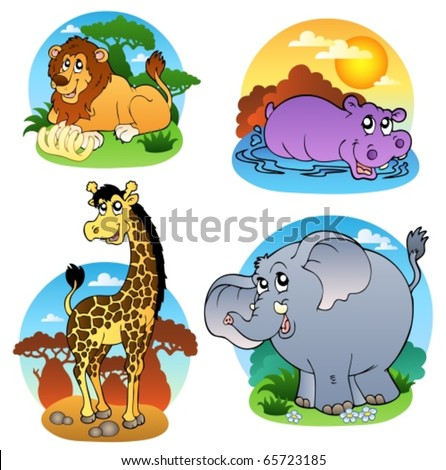 Various tropical animals 1 - vector illustration. - stock vector