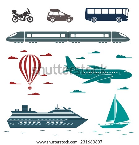 Various types of transport: car, bus, train, plane, air balloon, sailing boat, ship with long shadow effect. Vector set of different means of transportation. - stock vector