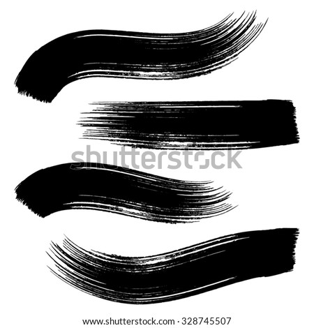 Various vector black brush strokes collection - stock vector