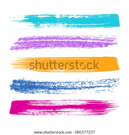Various vector colorful brush strokes silhouettes big collection - stock vector