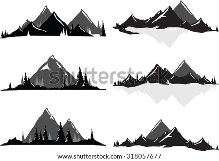 Various vector illustrations of mountains and hills with trees and water. All objects can be un-grouped and easily moved around. If you want to move or copy an element it is very easy to do so. - stock vector