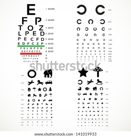 Various versions of the table for eye tests  the adult and children's options - stock vector