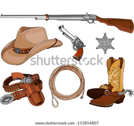 Various vintage cowboy western objects set - stock vector
