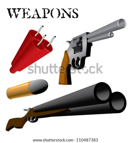 Various Weapons and Ammunition in perspective - stock vector