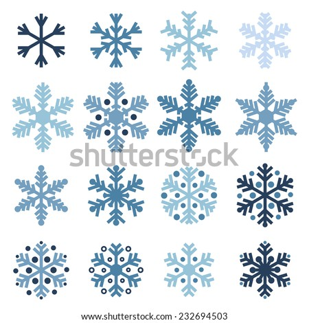 Various winter snowflakes vector set - stock vector