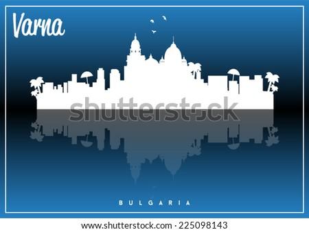 Varna, Bulgaria skyline silhouette vector design on parliament blue and black background. - stock vector