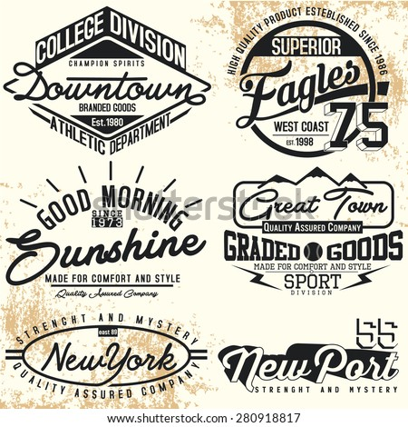 varsity graphics for t-shirt,vintage logo sets - stock vector