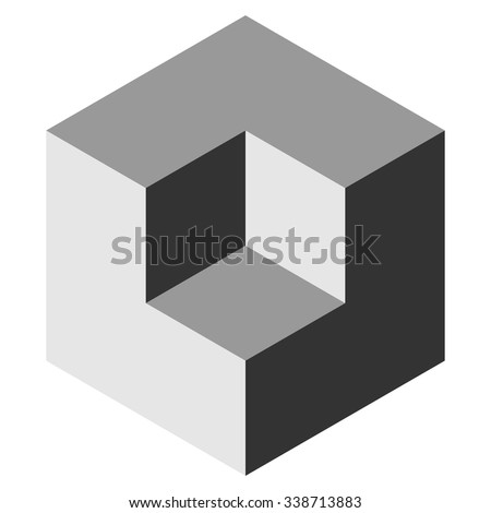 Vasarely cube in shades of grey, logo design element, optical illusion - stock vector