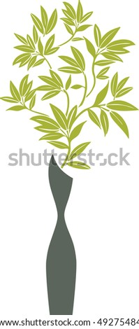 Vase with Bamboo Branches - stock vector