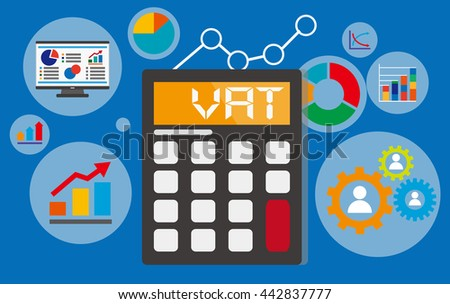 vat concept displayed on calculator with financial elements - stock vector