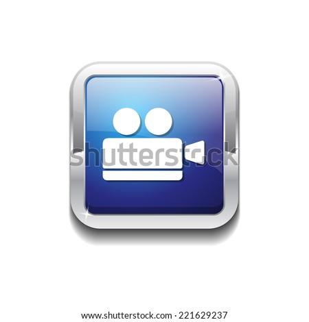 Vdeo Camera Blue Vector Icon Button - stock vector