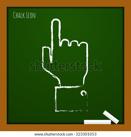 Ve?tor chalk drawn doodle hand pointer icon on school board  - stock vector