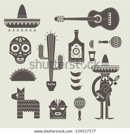 Vecor illustration of various stylized icons for Mexico - stock vector