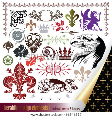 vecor set: heraldry - elements for your heraldic design projects - stock vector