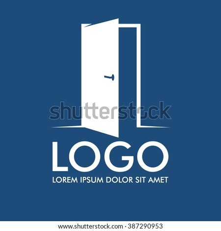 Vecrot real estate business logo.Open door icon. The realty company emblem. - stock vector
