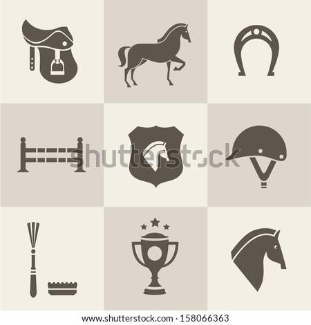 Vectir Horse icons set - stock vector