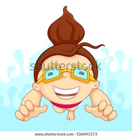 vecto illustration of girl in swimming pool - stock vector