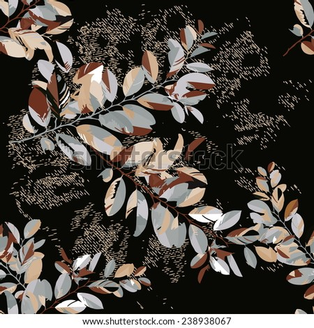 Vector a seamless sample fantasy a branch with leaves   - stock vector