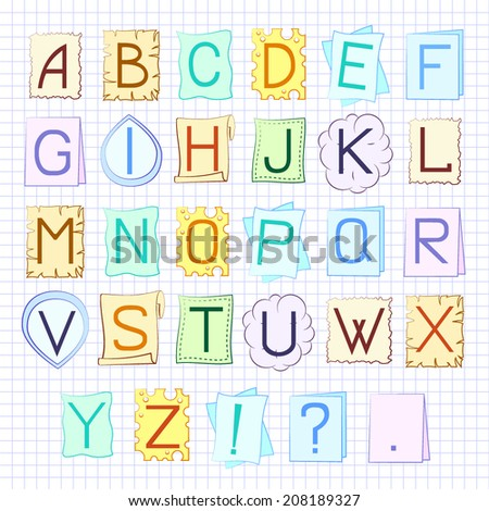 Vector ABC set on the various funny backgrounds - stock vector