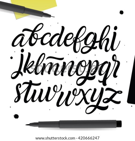 Vector Abc set. Painted Type. Handwritten Script Font. Hand Lettering and Custom Typography art for Designs: Logo, Cards, etc. Brush Typeface isolated on white background.  - stock vector