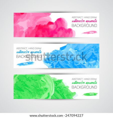 Vector Abstract acrylic painted brush banner on white background - stock vector