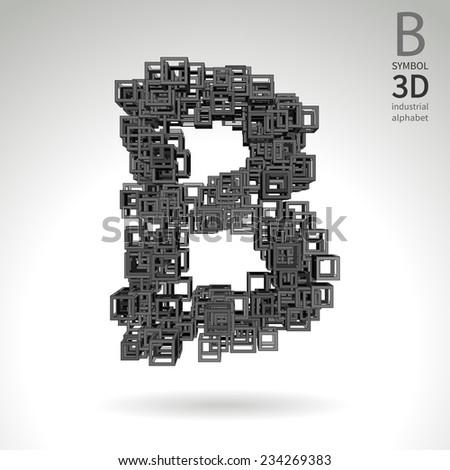 Vector abstract alphabet - symbol B. - stock vector
