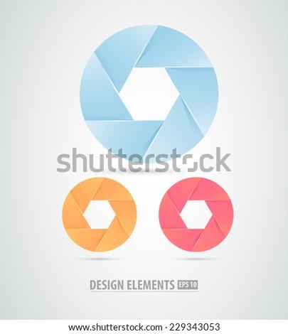 Vector abstract aperture design elements - stock vector