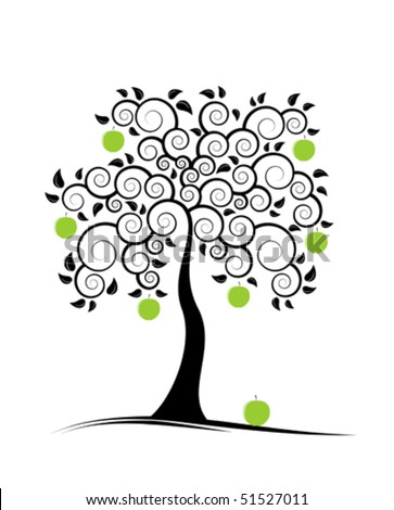 vector abstract apple tree on white background - stock vector