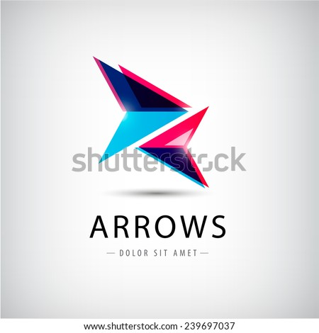 vector abstract arrows icon, logo - stock vector