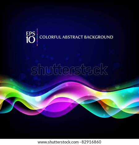 Vector abstract background - colorful waves - stock vector
