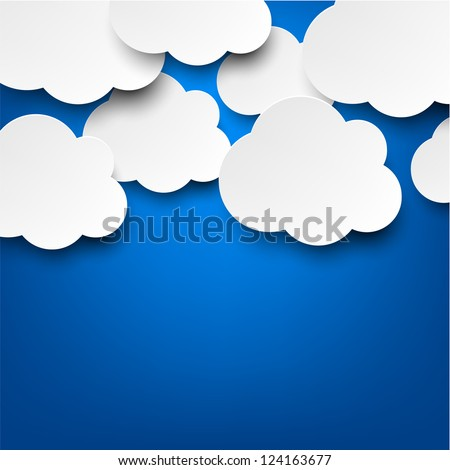Vector abstract background composed of white paper clouds over blue. Eps10. - stock vector