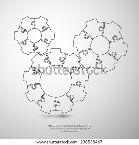 Vector Abstract background made from cogwheel puzzle pieces and place for your content - stock vector