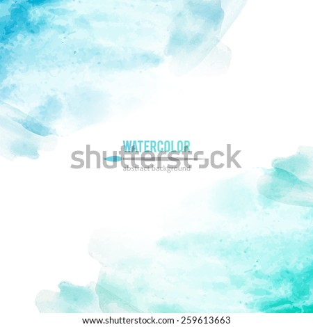 vector abstract background of blue watercolor stains - stock vector