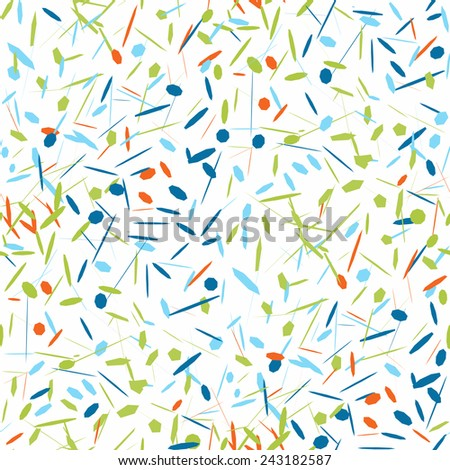 Vector abstract background of colorful confetti of different shapes. Seamless pattern of bright confetti. Illustration of confetti for holiday gift wrapping or greeting card's backdrop design. - stock vector