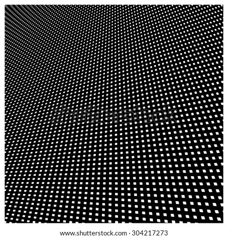 Vector abstract background of white square pattern on black background with perspective view. - stock vector
