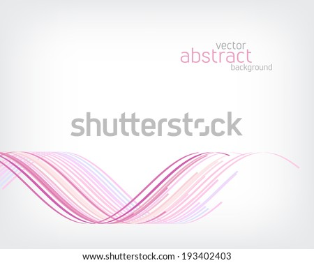 Vector abstract background. Pink wavy stripes on white - stock vector